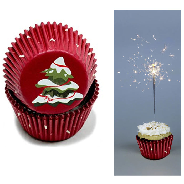 200X Holiday Cupcake Liners Christmas Tree Cake Muffin Baking Cups Party Dessert