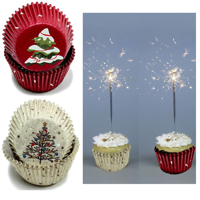 100X Holiday Cupcake Liners Christmas Tree Cake Muffin Baking Cups Party Dessert