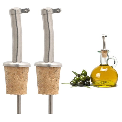 2 Pc Wine Pourer Oil Pour Cap Bottle Cork Reusable Stopper Plug Champagne Seal