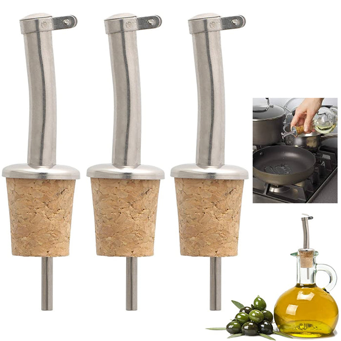 3 Pc Wine Pourer Oil Pour Cap Bottle Cork Reusable Stopper Plug Champagne Seal