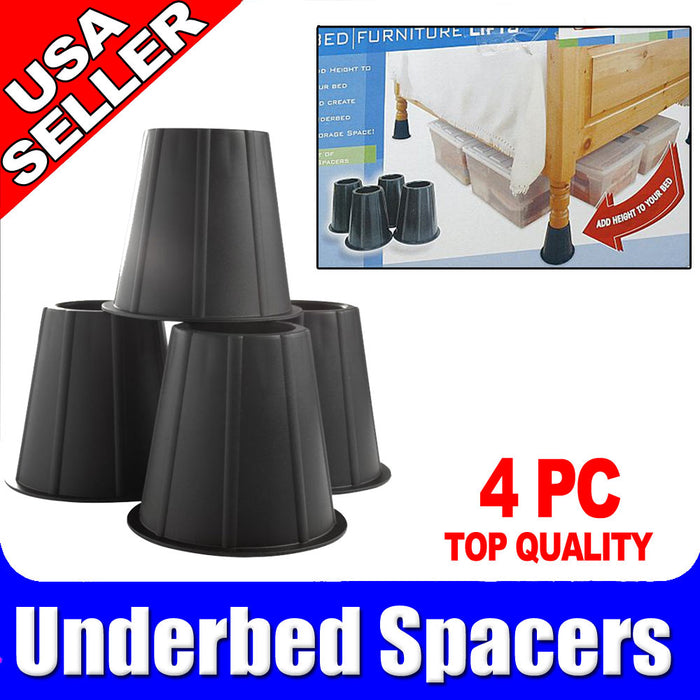 Range Kleen Underbed Under Bed Spacers In Black Plastic High Risers Lift Leg New