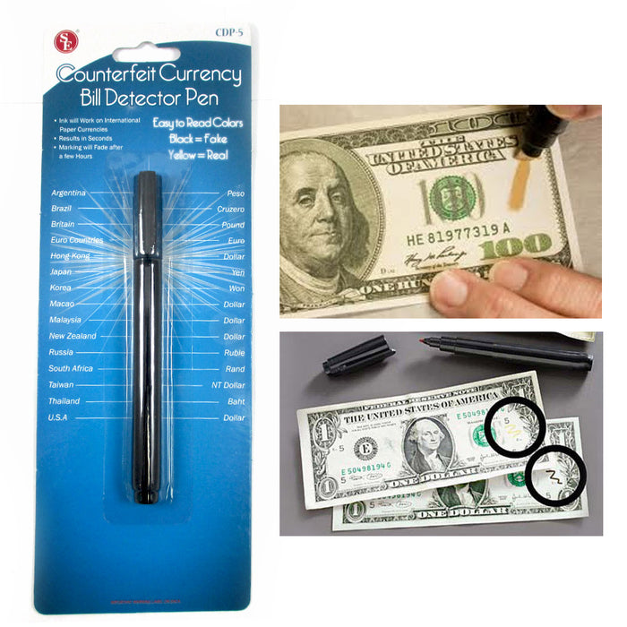 4 Counterfeit Money Detector Pen Bill Smart Marker Detection Fake Note Currency