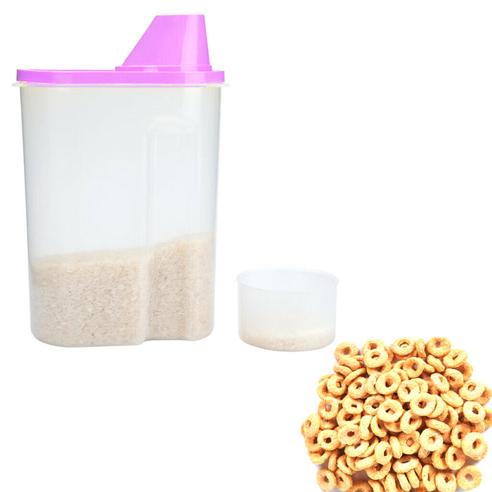 3 Pack Cereal Container With Cup Dry Food Dispenser Bottle Storage Lid Keeper 2L