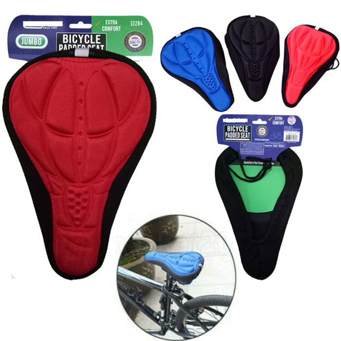 4 Padded Bike Seat Bicycle Cover Extra Comfortable Durable Cushion Soft Saddle