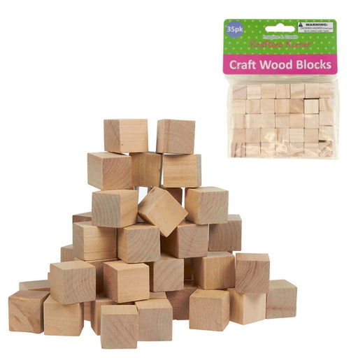"35 Natural Wooden Craft Blocks Unfinished Hardwood Wood Blocks Square 0.6"" Cubes"