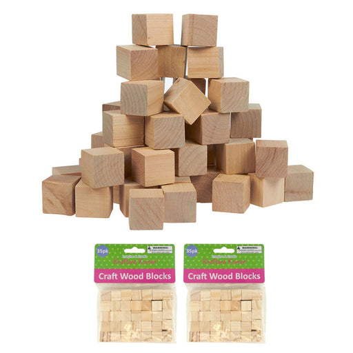 "70 Wood Craft Blocks Natural Wooden Unfinished Hardwood Blocks Square 0.6"" Cubes"