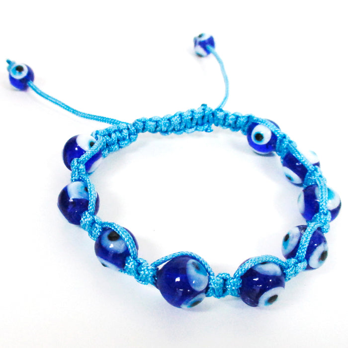 Evil Eye Lucky Bracelet Glass Blue Bead Adjustable Rope String Hamsa Charm Gift