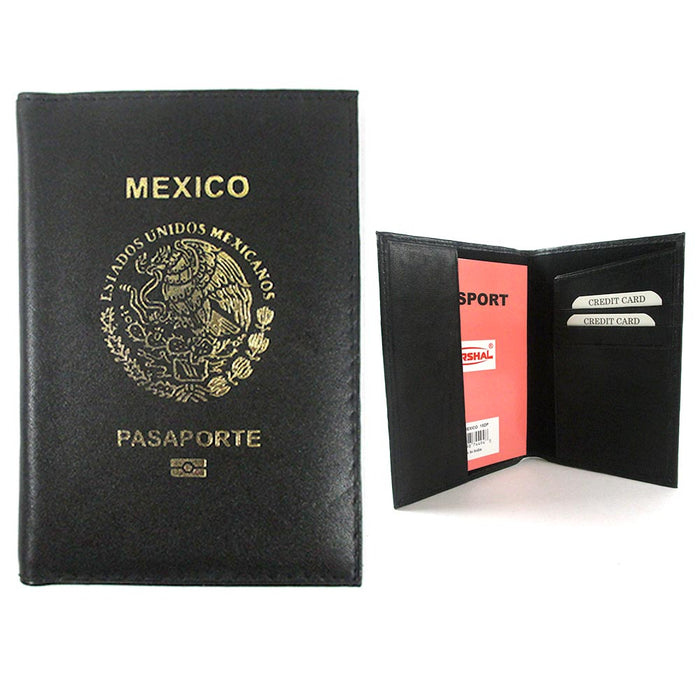 Mexico Passport Holder Organizer Case Cover Protector Genuine Leather Travel New