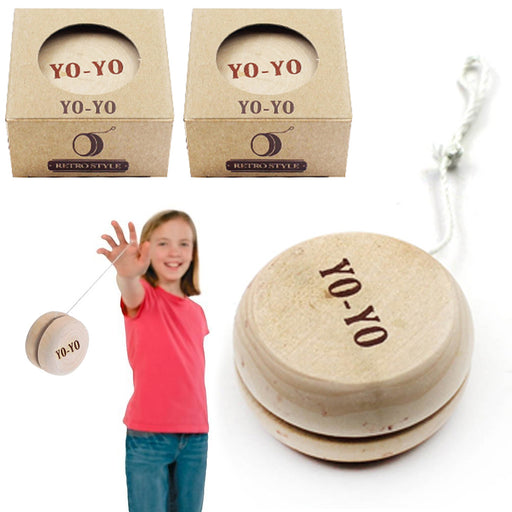 2 Pc Wooden Yo-Yo Spinning Toy Yoyo String Classic Antique Gift Play Party Favor