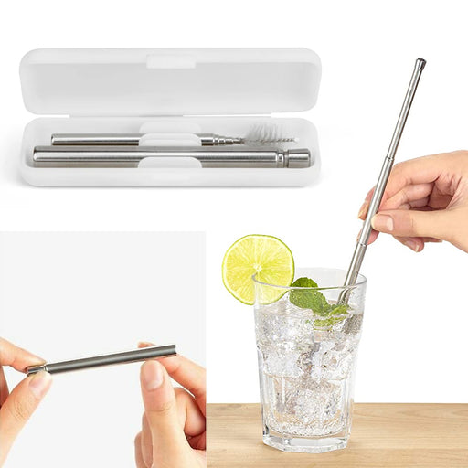 1 Travel Straw Set Steel Metal Drinking Expandable Reusable Cleaning Brush Case