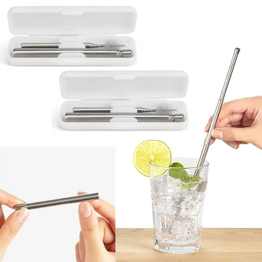 2 Travel Straw Set Steel Metal Drinking Expandable Reusable Cleaning Brush Case