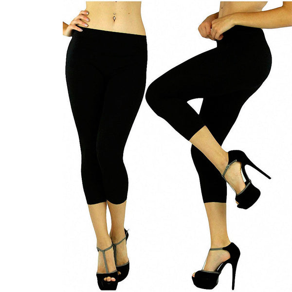 Womens Sexy Seamless Capri Leggings Tights Stretch Cropped Skinny Long Hot Black