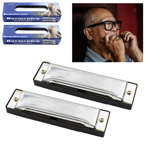 2 Pc Beginners Harmonica C Key 10 Hole Silver Metal Classic Blues Instrument New