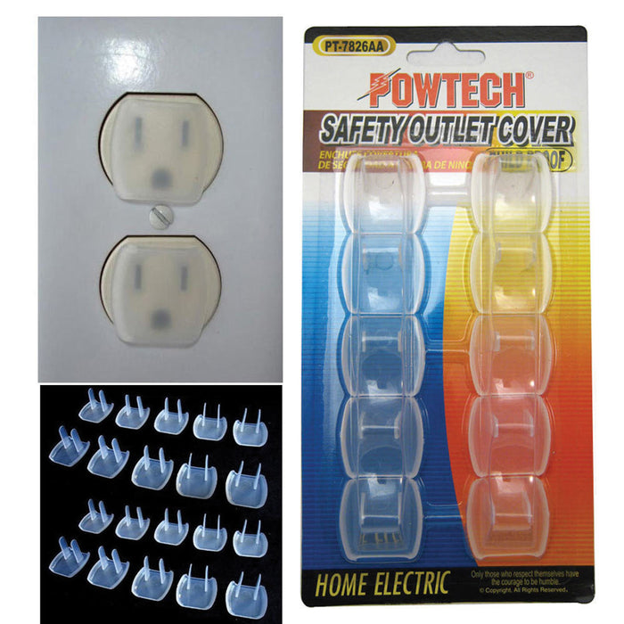 20 Piece Safety Electric Outlet Plug Protector Cover Child Proof Shock Guard !!