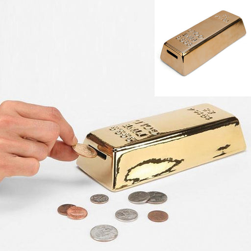 Gold Money Bank Coin Box Piggy Ceramic New Saavy Safe Dollar Coins Gift Adults !