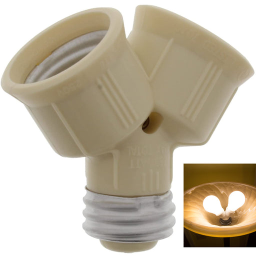 1 Pc Ivory Twin Lite Socket Adapter Plug-In Dual Light Bulb Screw Outlet Plug