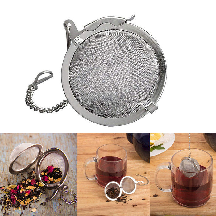 "Stainless Steel Loose Tea Infuser Mesh Ball Spice 3"" Kettle Pot Cup Strainer"