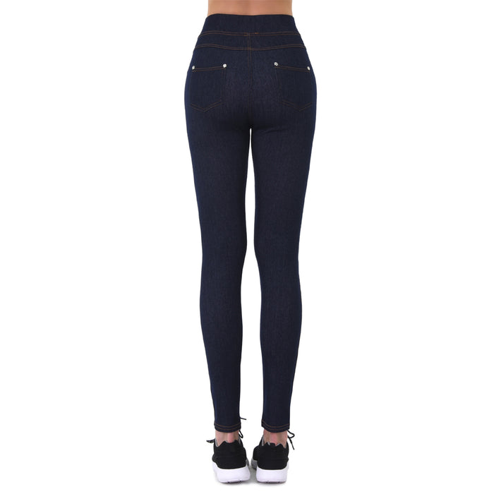 2Pc Women Stretchy Jeggings Skinny Pants Soft Jeans Leggings Black Blue One Size