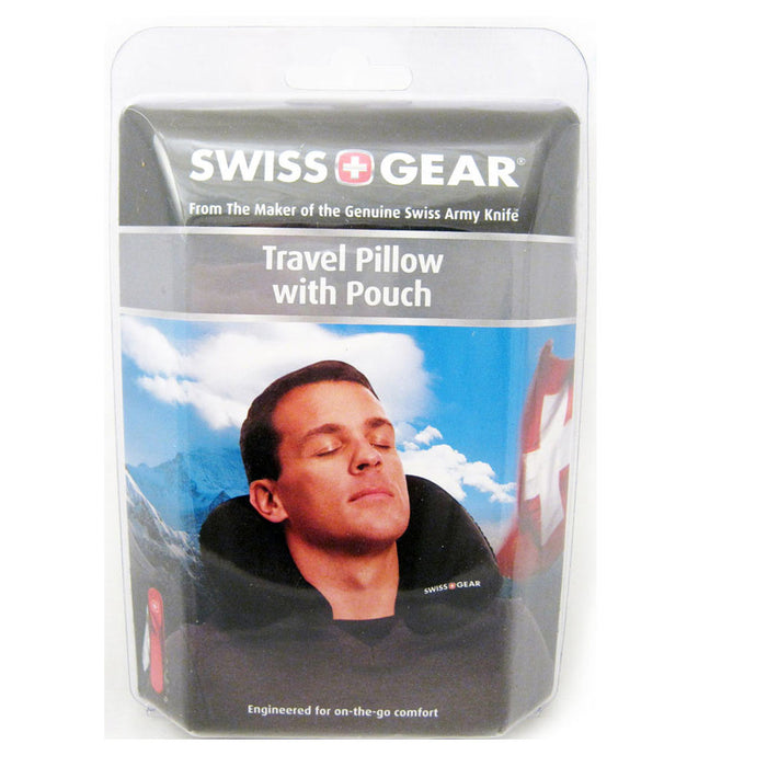 SWISS TRAVEL PILLOW POUCH BLACK NECK INFLATIBLE REST CUSHION SUPPORT CAR OFFICE