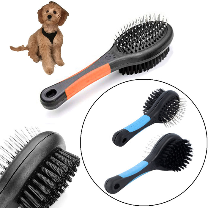 Double Sided Pet Brush Dog Cat Hair Grooming Coat Comb Fur Cleaner Pin Bristle !