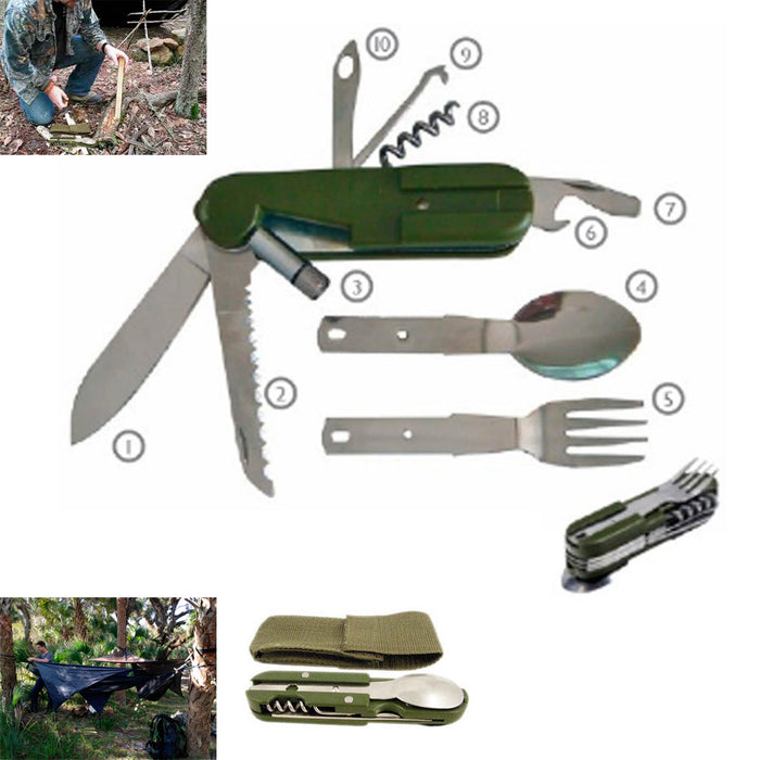 6 Function Camper Multi Tool Folding Hobe Knife Fork Spoon Survival Camp Sports
