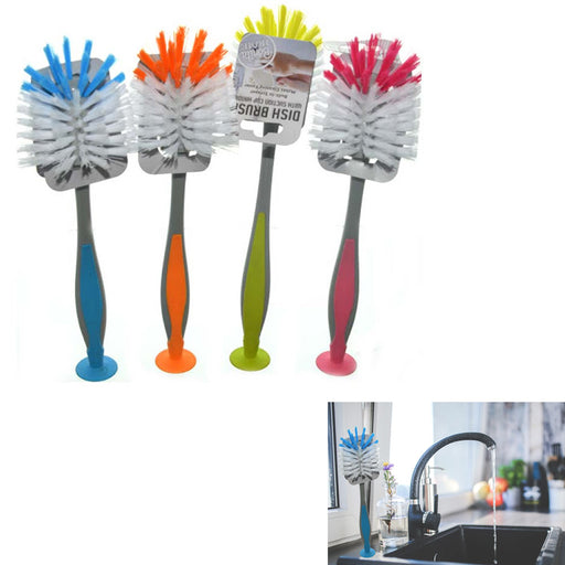 4 PC Scrub Brush Standing Suction Cup Sink Scrubber Dish Kitchen Gadgets Washing