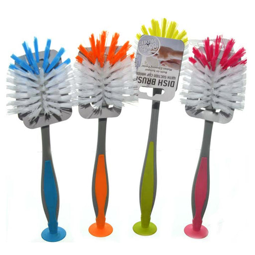 2 Pcs Kitchen Scrub Brush Suction Cup Sink Dish Washing Vegetable Scrubber 11""