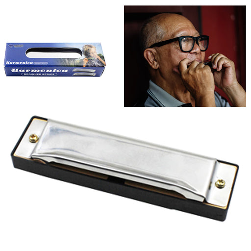 1 Harmonica 10 Holes Key of C SILVER Blues Stainless Steel NEW