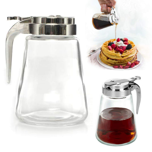 Honey Syrup Dispenser 9 Oz Glass Maple Jar Lid  Sugar Clear Glass Plastic Top