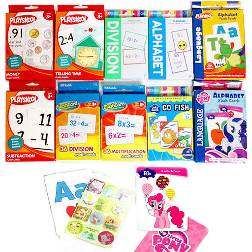 4 X Early Learning Flash Cards English Math Colors Shapes Alphabet School Pre-K