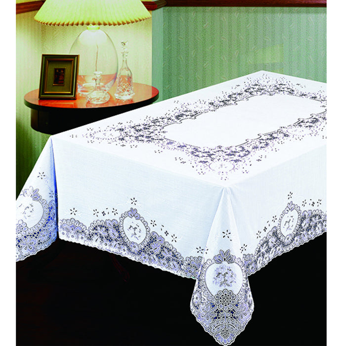 "Lace Tablecloth White Vinyl 54""X72"" Cover Wedding Floral Vintage Dinning Table"