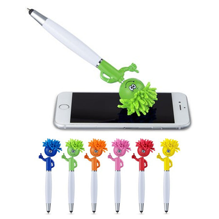 4 Pc Universal Stylus Touch Screen Pen 3-in-1 Duster Cleaner Techie Theo Mop Top