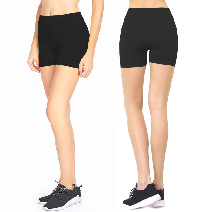 2 Biker Shorts Women Leggings Cycling Stretch Hot Yoga Exercise One Size Black