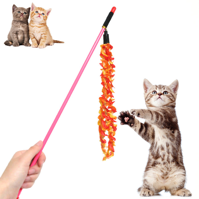 Cat Kitten Pet Wand Teaser Toy Catcher Stick Interactive Playing Chaser Colorful