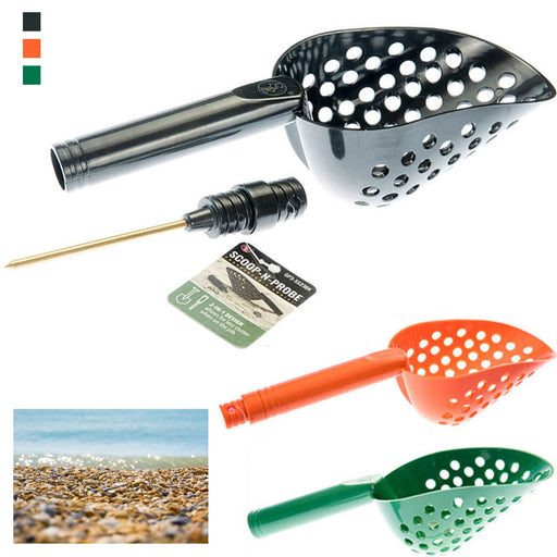 1 X Tough Durable Black Plastic Beach Sand Scoop With Brass Probe Metal Detector