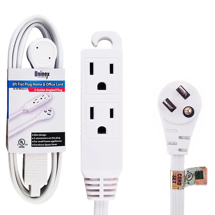8 Ft Flat Angle Plug Extension Cord 16/3 Gauge 3 Outlet Tap Slim Cable Indoor UL