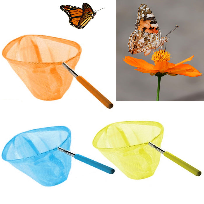 "34"" Extendable Butterfly Bug Catching Net 8"" Round Telescopic Insect Cage Play"