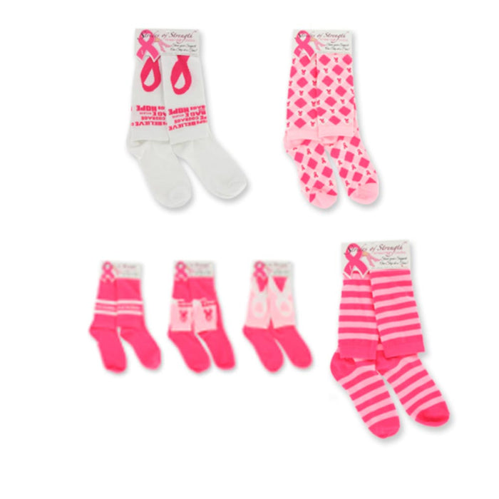 1 Pair Womens Breast Cancer Awareness Knee High Socks Pink Ribbon Support Girls