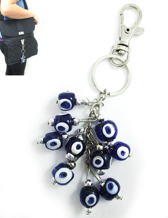 Evil Eye Keychain Ring Blue Glass Beads Good Luck Charm Protection Car Hamsa New
