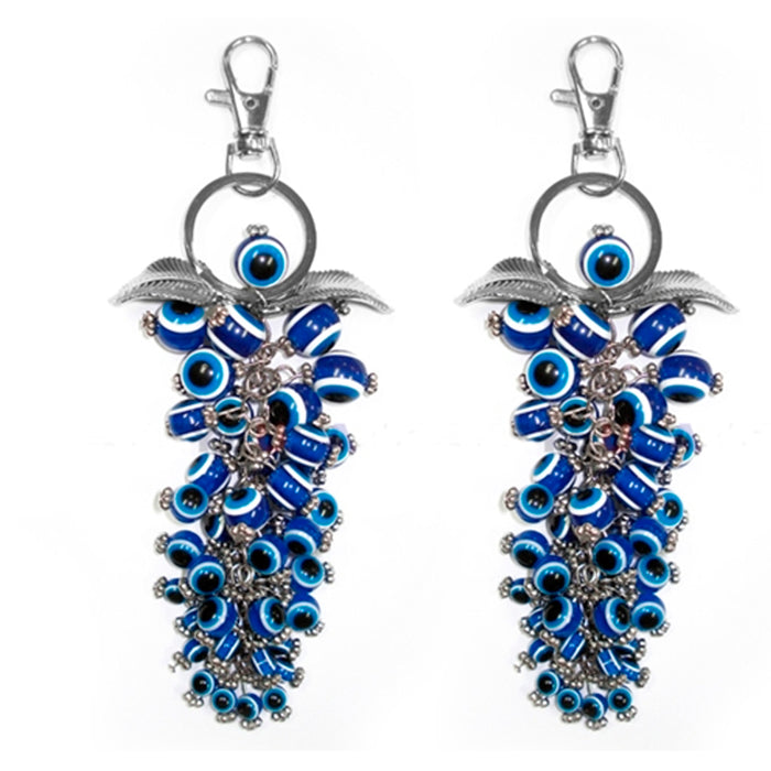 2 Greek Turkish Blue Bead Evil Eye Hamsa Keychain Amulet Pendant Good Luck Charm