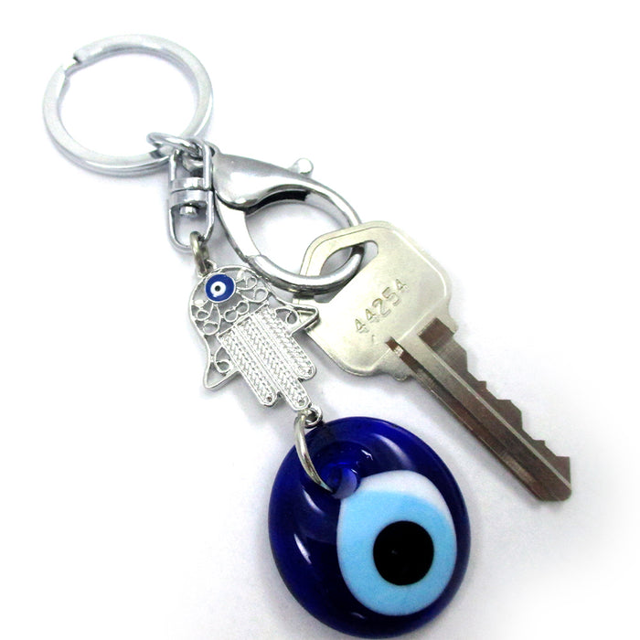 Evil Eye Glass Hamsa Hand Keychain Key Ring Hand Lucky Charm Kabbalah Nazar New