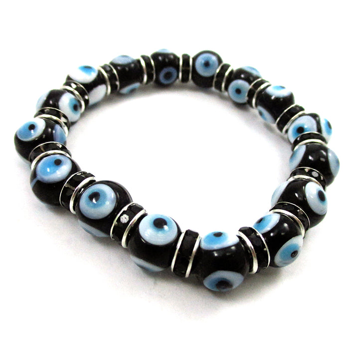 2 Bracelets Evil Lucky Eye Charm Black Glass Beads Stretch String Amulet 7mm