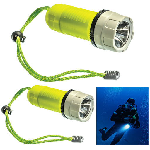 2 Dive Light Underwater 200 Lumens Diving Waterproof Flashlight Scuba Torch 50ft
