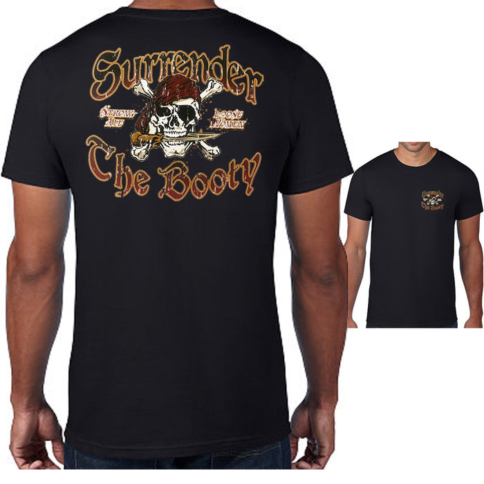 Jolly Roger Skull Pirate Surrender The Booty T-shirt Mens Graphic Tee Top Bk M