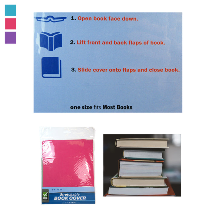 6 Pack New Book Covers Stretchable Fabric Jumbo Size Book Cover Assorted Colors