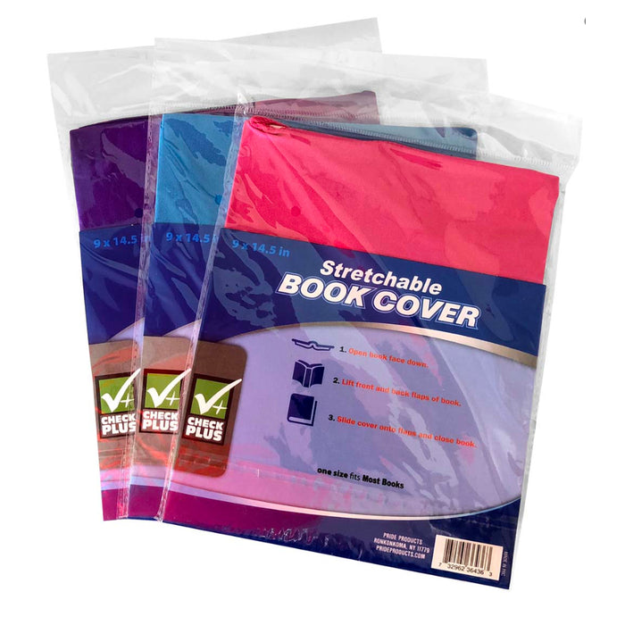 12 Lot Stretchable Fabric Book Covers Jumbo Size Colors School Reusable Washable