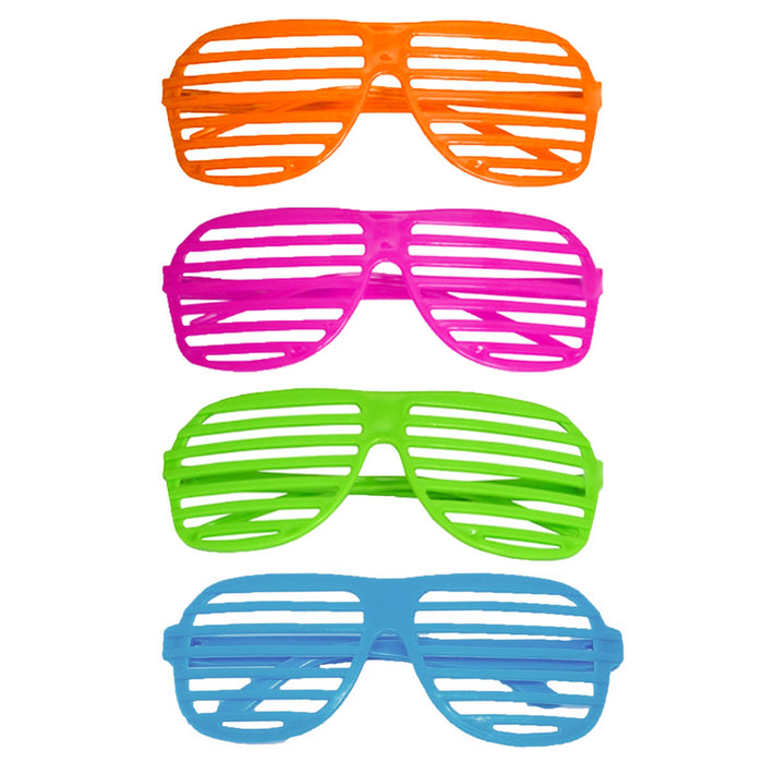 4 Pack Novelty Place Neon Color Party Shutter Glasses Slotted Shading Sunglasses