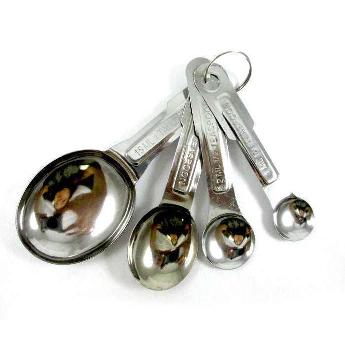 4 Pc Stainless Steel Measuring Spoon Teaspoon Set Scoop Baking Metric Tool New !