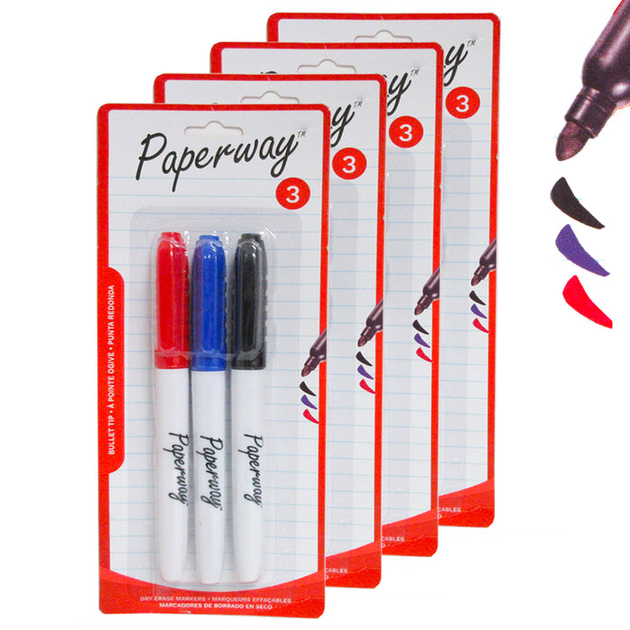 12PC Low Odor White Board Markers Dry Erase Bullet Tip Black Blue Red Color Pens