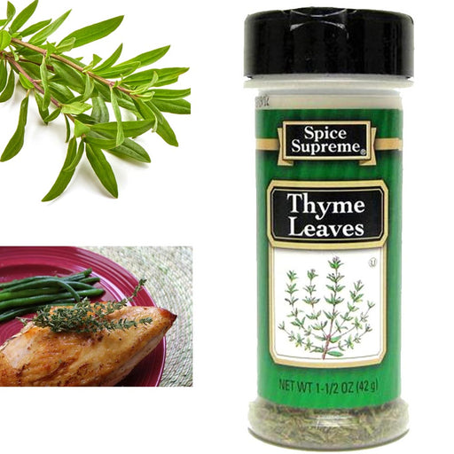 Spice Supreme Thyme Leaves Seasoning 1.5 Ounce Jar Cooking Dry Rob Meats Veggies